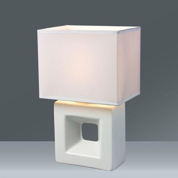 Tischleuchte Quadro, max. 40 Watt - Weiß, Keramik/Textil (17/12/28cm) - Mömax modern living