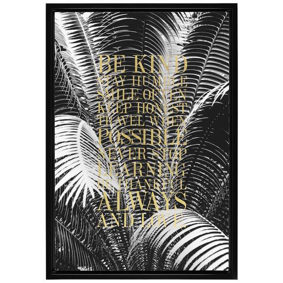 Slika Denise - črna/zlata, tekstil/leseni material (66/96/4cm) - Modern Living