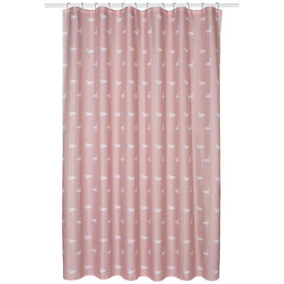 Zavjesa Za Tuš Flamingo - roza, tekstil (180/200cm) - Mömax modern living