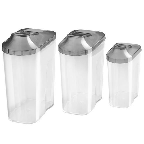 Schüttdose Patsy, 3-teilig - Transparent/Anthrazit, Kunststoff (0,5+1+1,5l) - Mömax modern living