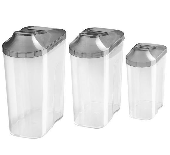 Schüttdose Patsy - Transparent/Anthrazit, Kunststoff (0,5+1+1,5l) - Mömax modern living