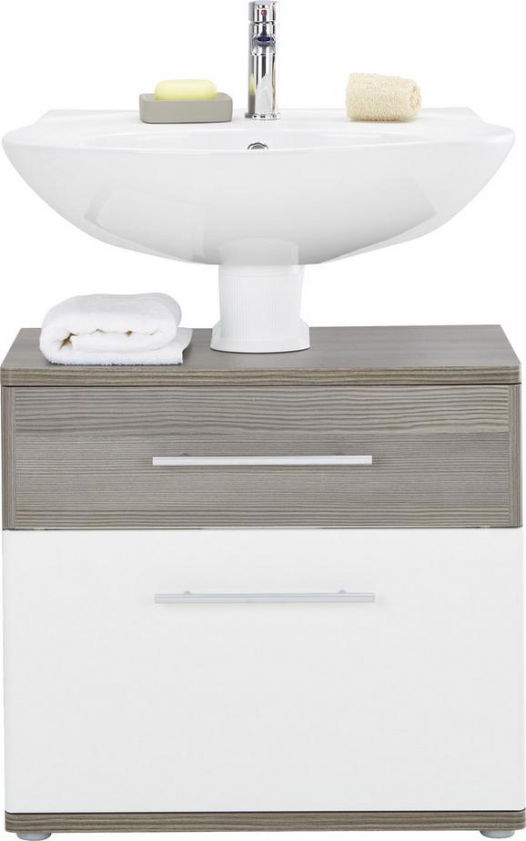 Waschbeckenunterschrank Weiß Hochglanz/braun - Dunkelbraun/Alufarben, KONVENTIONELL, Holzwerkstoff/Kunststoff (66/59/40cm) - Premium Living