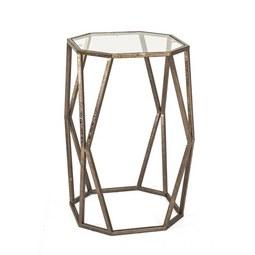 Kisasztal Filia 3 - bronz szín, modern, üveg/fém (37/50/37cm)
