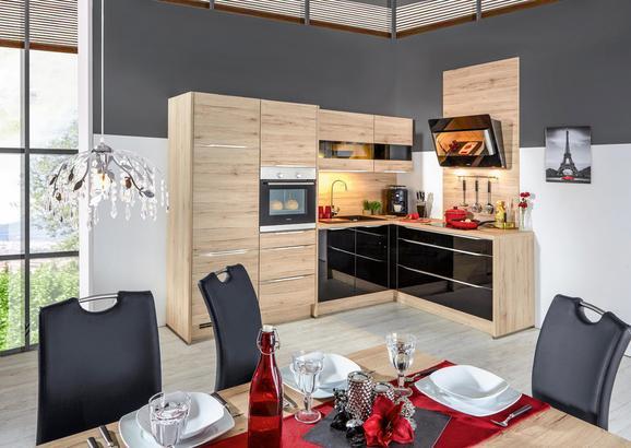 Kotna Kuhinja Riga/fargo - črna/barve hrasta, Trendi, leseni material (280/185cm) - VERTICO