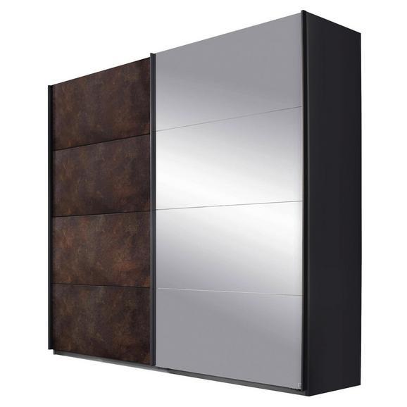 Omara Z Drsnimi Vrati Meppen - siva/opečnato rjava, Moderno, kovina/leseni material (226/210/62cm) - Premium Living