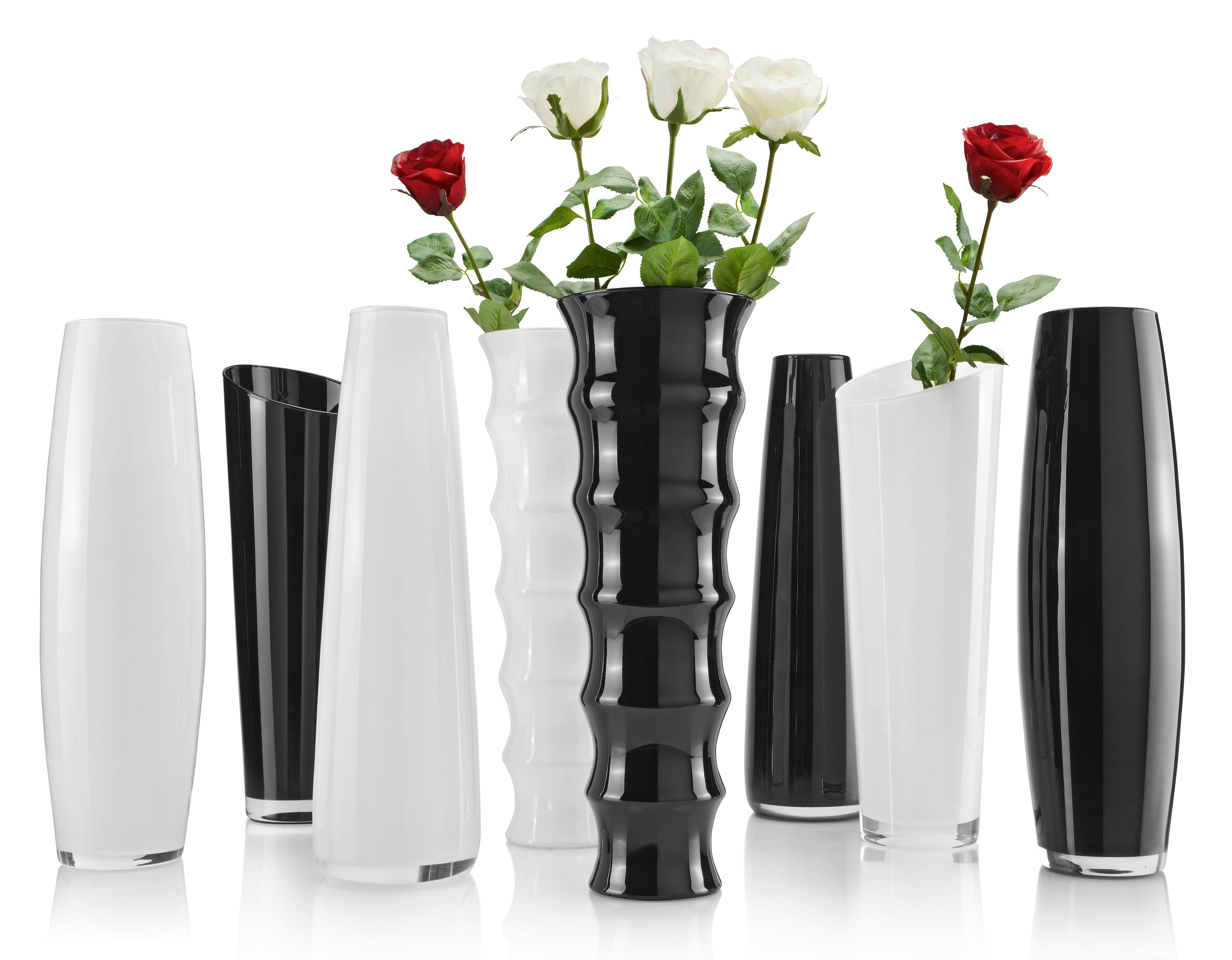 Váza Jenny - fekete/fehér, üveg (50cm) - MÖMAX modern living