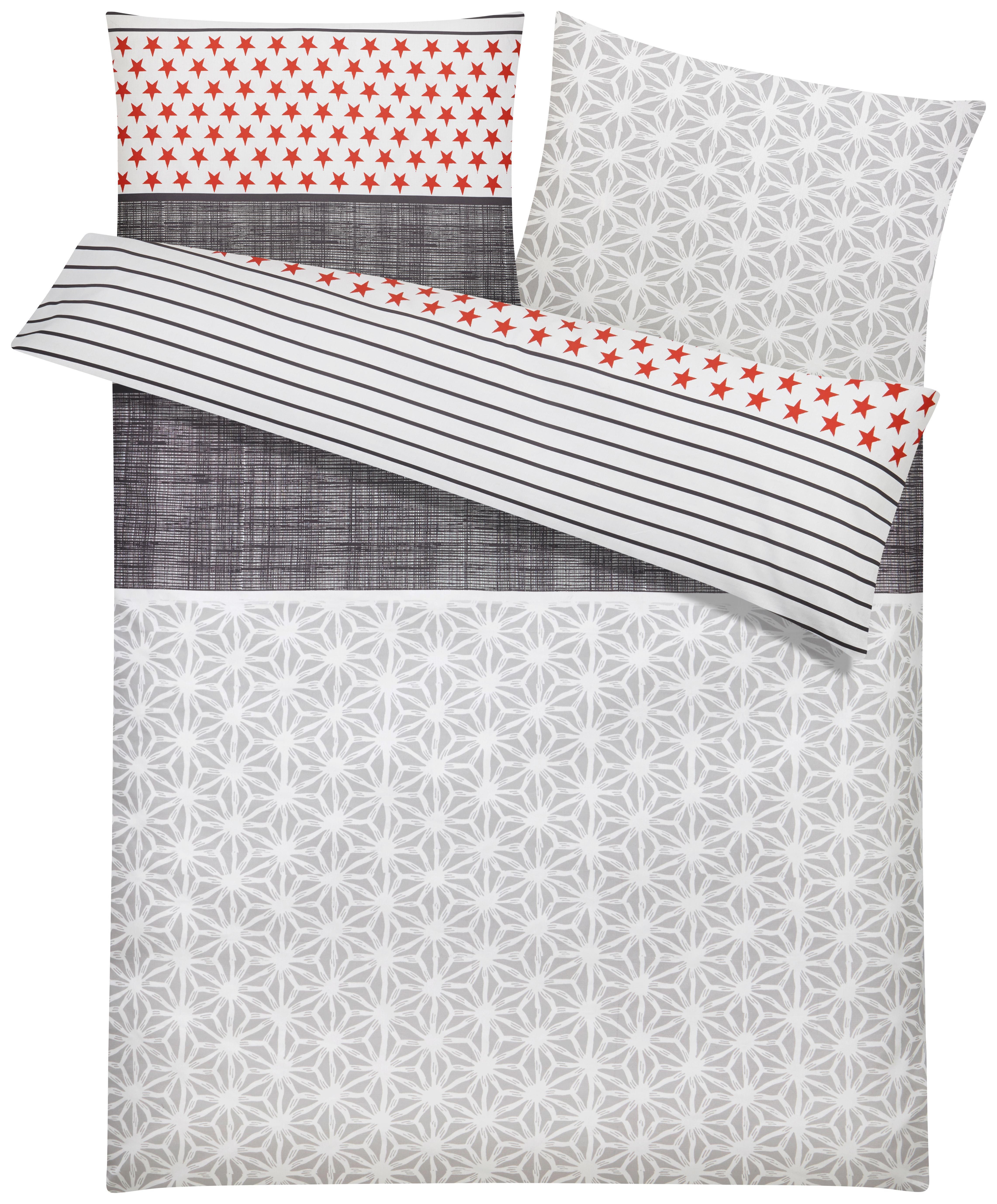 Bettwäsche S. Oliver Baumwollsatin - Rot/Weiß, MODERN, Textil - S. OLIVER