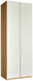 Drehtürenschrank Weiß/Eichefarben - Eichefarben/Alufarben, ROMANTIK / LANDHAUS, Holzwerkstoff/Metall (90/236/58cm) - Premium Living