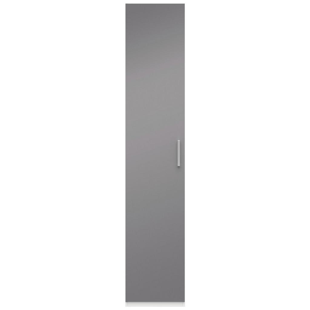 Drehtürenschrank Grau Hochglanz/Weiß
