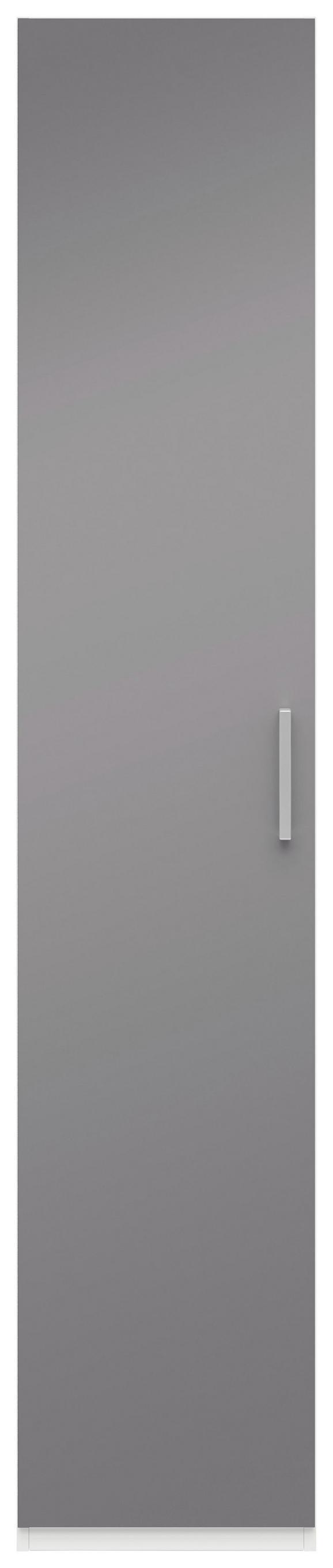 Drehtürenschrank Grau Hochglanz/Weiß - Edelstahlfarben/Weiß, MODERN, Holzwerkstoff/Metall (50/206/57cm) - Premium Living
