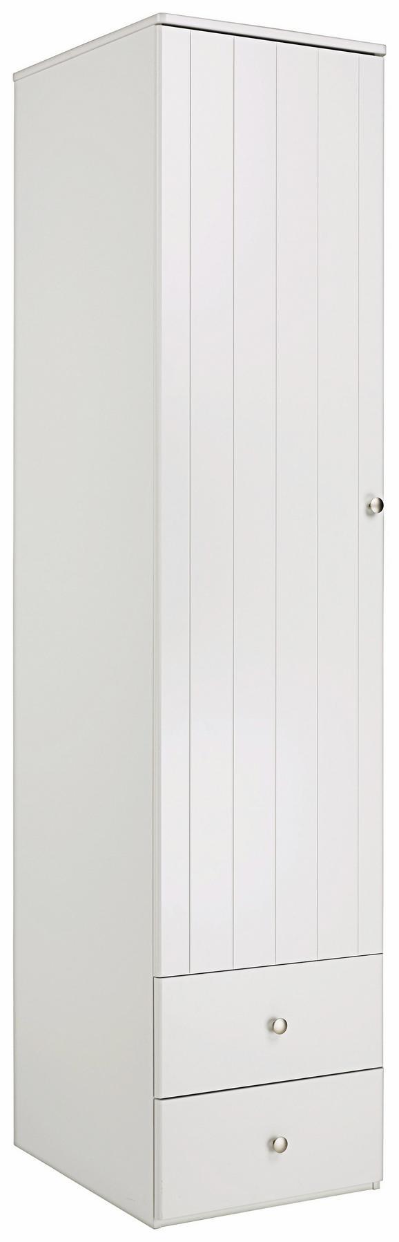 Kleiderschrank Weiß - Silberfarben/Weiß, ROMANTIK / LANDHAUS, Holzwerkstoff/Metall (50/220/63cm) - ZANDIARA