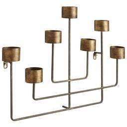 Kerzenhalter Selin Goldfarben - Goldfarben, ROMANTIK / LANDHAUS, Metall (61/45/8,5cm) - Zandiara