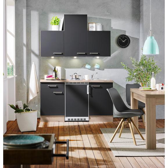 Küchenblock Milano Anthrazit/Eiche - Eichefarben/Anthrazit, MODERN, Holzwerkstoff (150cm) - FlexWell.ai
