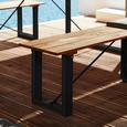Gartenbank Leonor aus Akazienholz - Schwarz/Akaziefarben, MODERN, Holz/Metall (170/42/33,5cm) - Modern Living