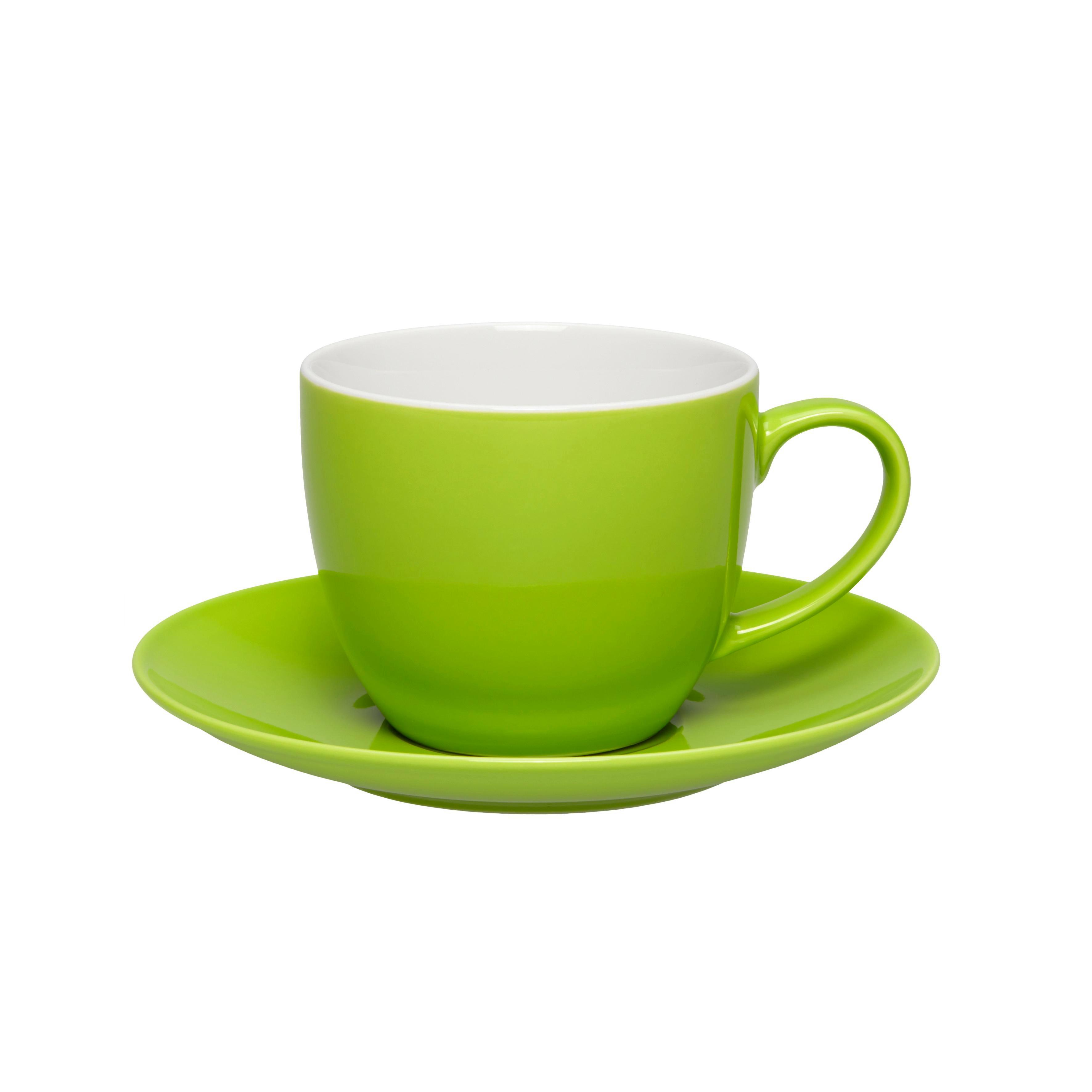 Kaffeetasse mit Untertasse Sandy in Grün aus Keramik - Grün, KONVENTIONELL, Keramik (5/6,9cm) - MÖMAX modern living