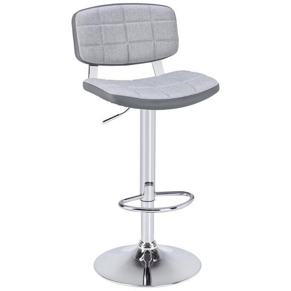 Barski stol COSIMO - siva/krom, Moderno, kovina/tekstil (45,50/88-109/47cm) - Modern Living