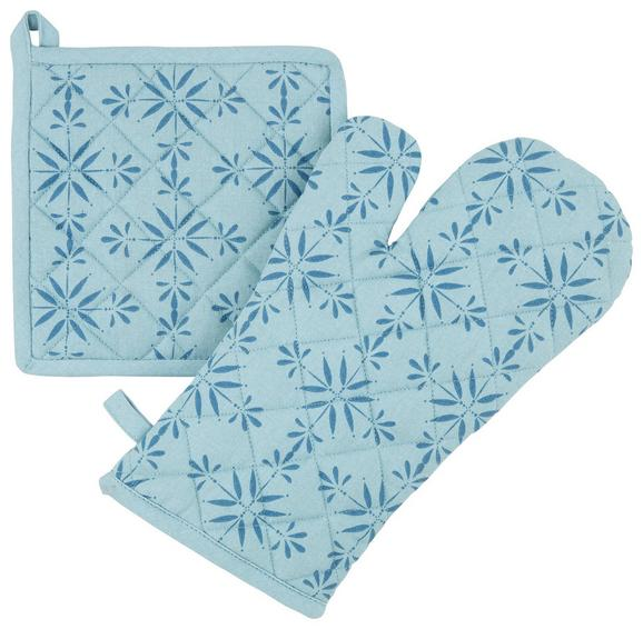 Topflappen und Handschuh Agnes Blau - Blau, MODERN, Textil (18/32cm) - Mömax modern living