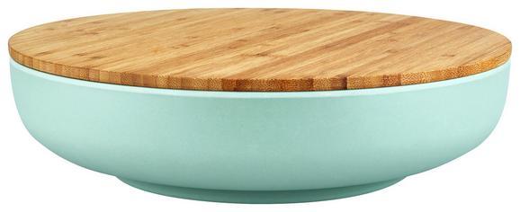 Schüssel Anabel Mint XL mit Deckel - Naturfarben/Grün, MODERN, Holz/Holzwerkstoff (30,5/7,5cm) - Zandiara