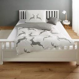 Bettwäsche My Deer - Baumwollsatin - Grau, MODERN, Textil (140/200cm) - Bessagi Home