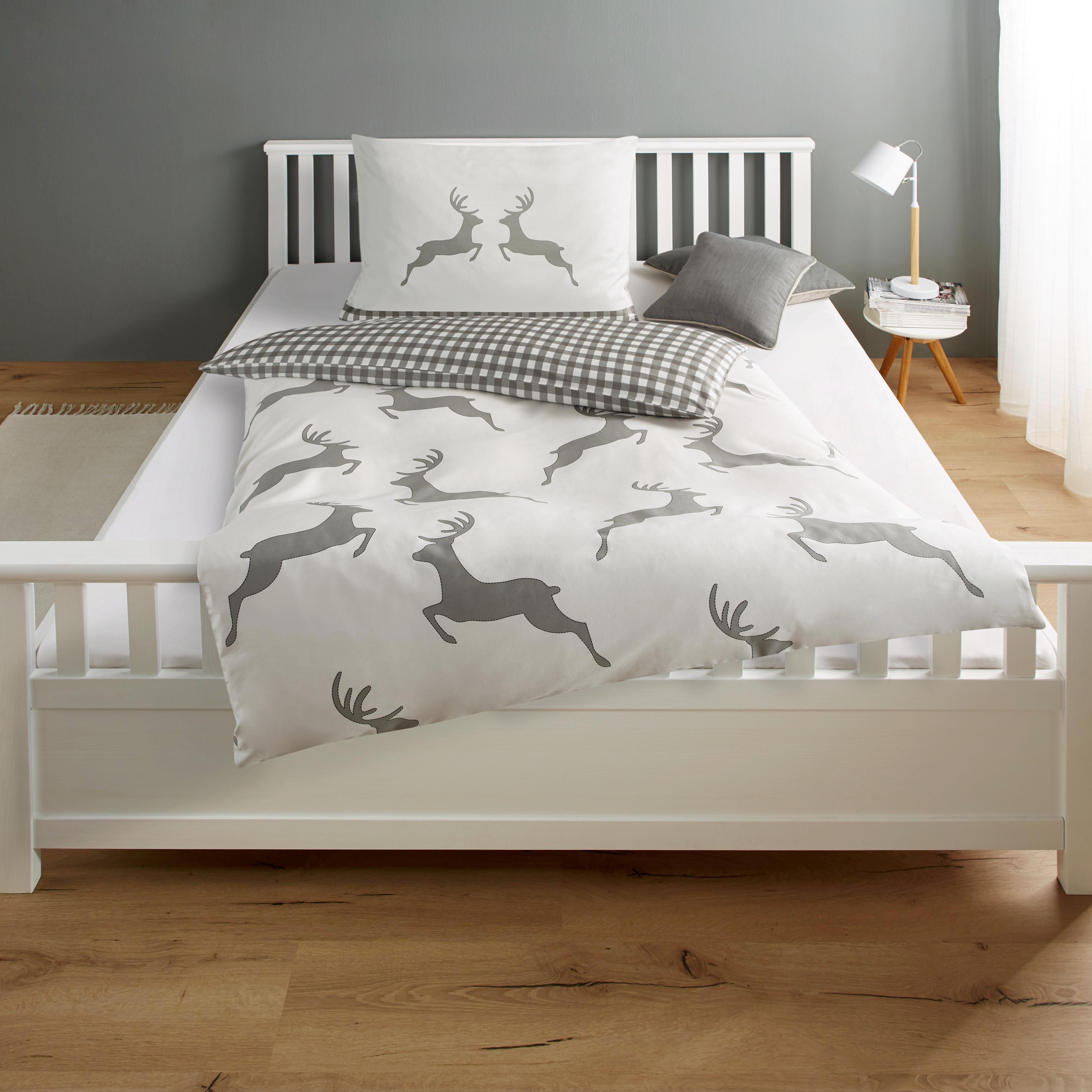 Bettwäsche My Deer   Baumwollsatin   Grau, MODERN, Textil (140/200cm)