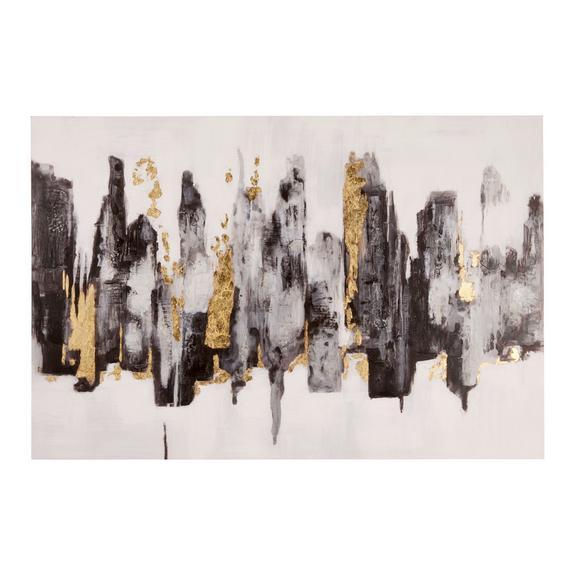 Tablou Acryl - galben/negru, plastic/lemn (120/80cm) - Premium Living