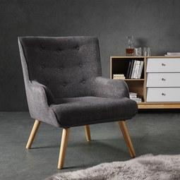 Sessel in Grau 'Sira' - Dunkelgrau, MODERN, Holz/Textil (73/91/85cm) - Bessagi Home