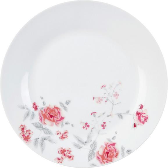 Dessertteller Roseanne in Weiß Ø ca. 20cm - Pink/Grau, ROMANTIK / LANDHAUS, Keramik (20,32cm) - Zandiara