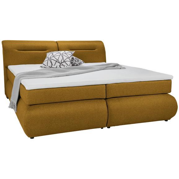 Boxspringbett in Currygelb ca. 140x200cm - Currygelb/Schwarz, Kunststoff/Textil (240/150/100cm) - Premium Living