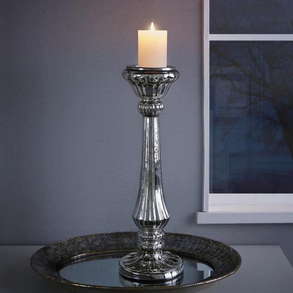 Kerzenhalter Lorna - Silberfarben, KONVENTIONELL, Glas/Metall (17/53cm) - Mömax modern living