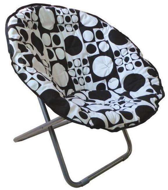Összecsukható Fotel Papa Sam - fekete/fehér, modern, textil/fém (86/80/65cm)