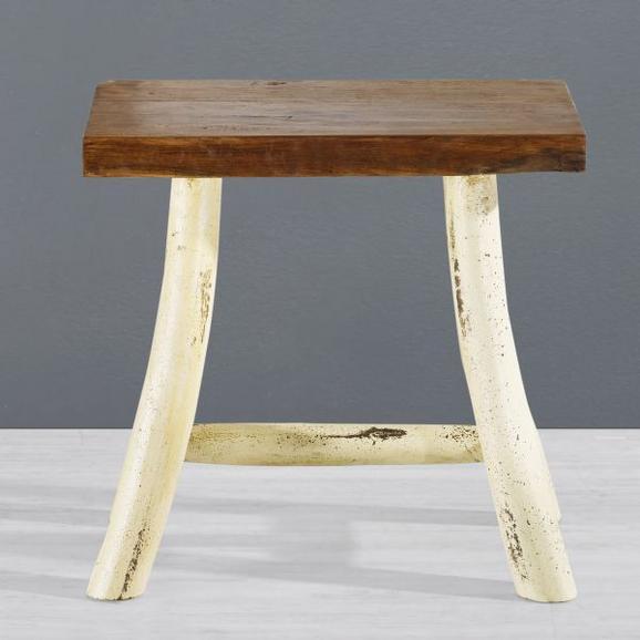 Hocker Yogi - Naturfarben/Teakfarben, Holz (50/48/30cm) - Premium Living