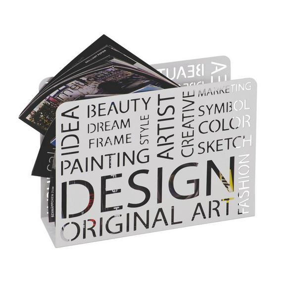 Stojalo Za Časopise Design - bela, Moderno, kovina (35/28/10cm)