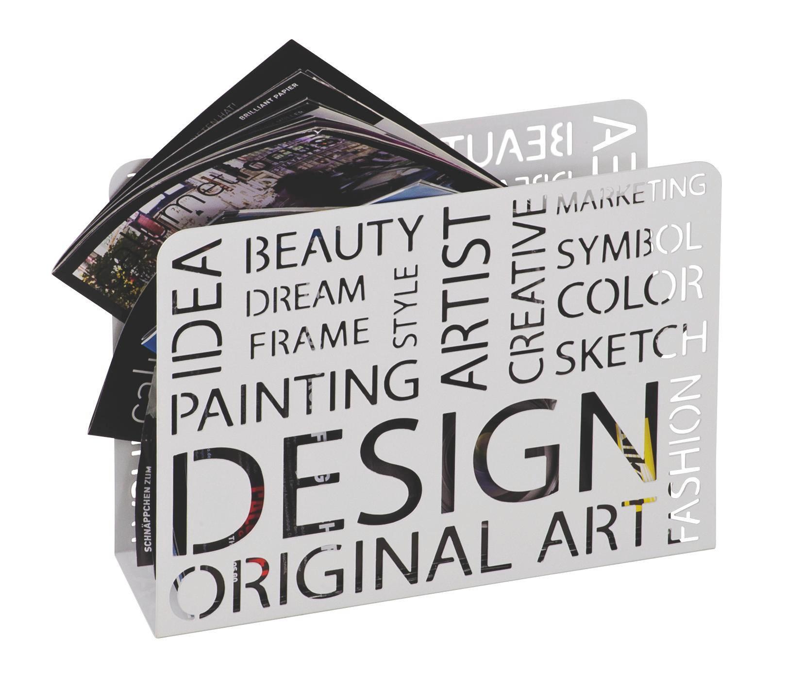 Újságtartó Design Weiss -sb- - fehér, modern, fém (35/28/10cm)