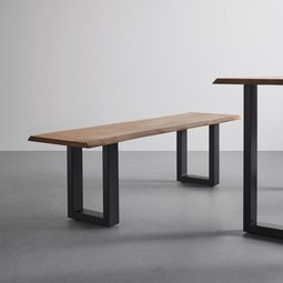 Sitzbank aus Akazie Echholz 'Malmo' - Schwarz/Akaziefarben, MODERN, Holz/Metall (160/47/42cm) - Bessagi Home