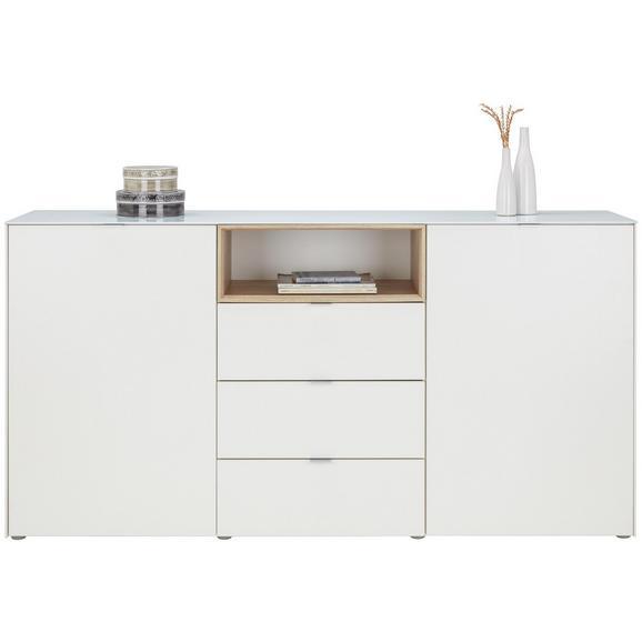 Sideboard in Weiß/Sonoma Eiche - Alufarben/Weiß, MODERN, Glas/Holzwerkstoff (181/92,3/41,7cm) - Mömax modern living