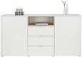 Sideboard Weiß/Sonoma Eiche - Alufarben/Weiß, MODERN, Glas/Holzwerkstoff (181/92,3/41,7cm) - Mömax modern living