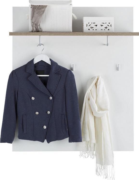 Garderobenpaneel Weiß/Eichefarben - Eichefarben/Weiß, MODERN, Holzwerkstoff (85 101 34cm) - Mömax modern living