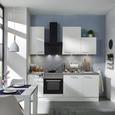 Küchenblock Neo Weiß/Betonoptik - Weiß, MODERN, Holzwerkstoff (220cm)