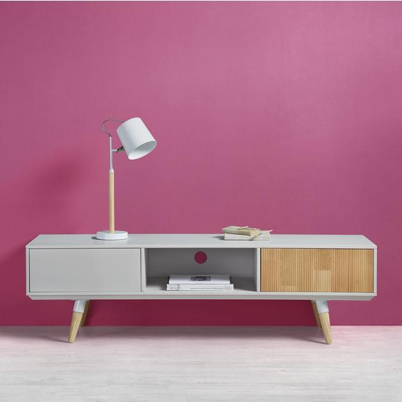 TV-Möbel Evlyn - Hellgrau/Kieferfarben, MODERN, Holz/Metall (160/45/43cm) - Bessagi Home