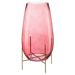 Vase Stella in Rosa - Rosa, Glas (26/26/46cm)