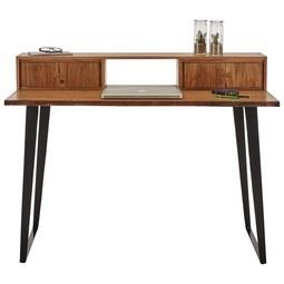 Schreibtisch Akaziefarben - Akaziefarben, KONVENTIONELL, Holz/Metall (130/95/68cm) - Premium Living