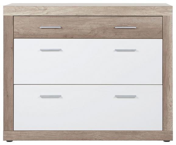 Schuhschrank in Weiß/Eiche - Chromfarben/Eichefarben, MODERN, Kunststoff (120/99/36cm) - Mömax modern living