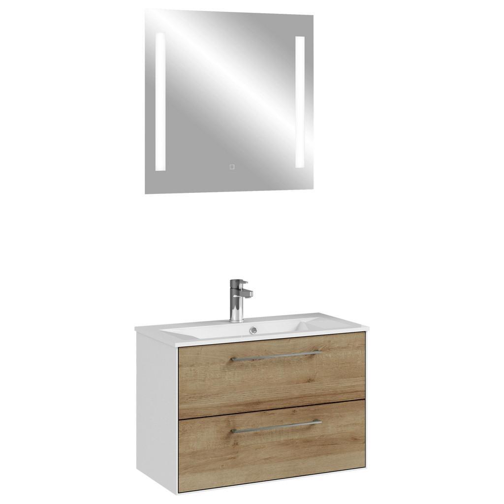 Badezimmer-Set in Weiß/Braun 'Fokus'