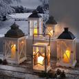 Laterne Henric inkl. LED-Kerze H ca. 50 cm - Schwarz/Weiß, MODERN, Glas/Holz (23/23/50cm) - Bessagi Home
