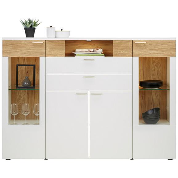 Highboard aus Eiche teilmassiv - Edelstahlfarben/Eichefarben, MODERN, Glas/Holzwerkstoff (180/132/40cm) - Premium Living