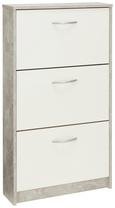 Schuhkipper Weiß/Betonoptik - Weiß/Grau, MODERN, Holzwerkstoff/Kunststoff (59/105/17cm)