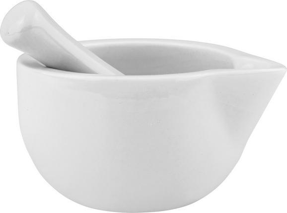 Mörserset AAron in Weiß aus Porzellan - Weiß, Keramik (11/12/11cm)