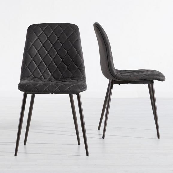 Stuhl Vittoria - Dunkelgrau/Dunkelbraun, MODERN, Textil/Metall (45/85/51cm) - Mömax modern living