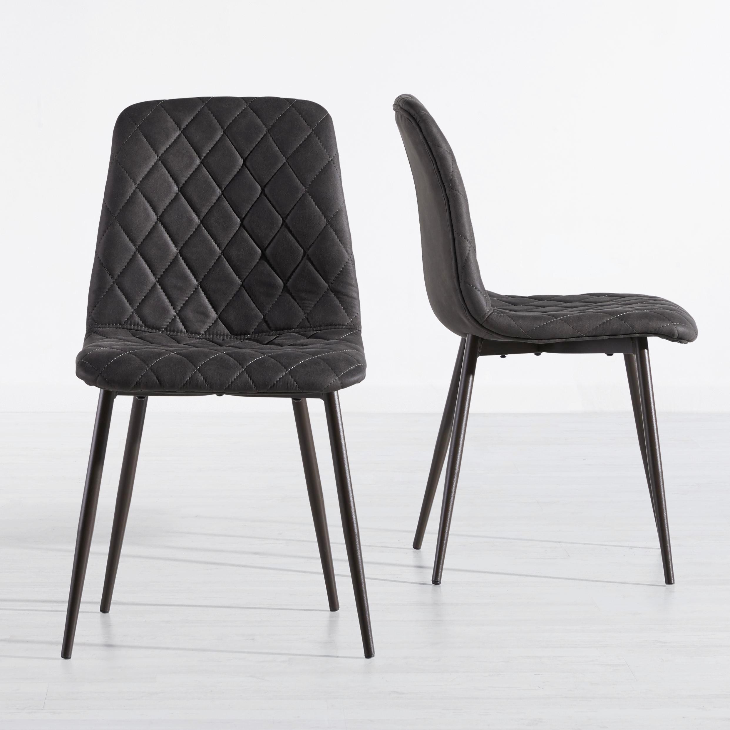 Stuhl Vittoria - Dunkelgrau, MODERN, Textil/Metall (45/85/51cm) - MÖMAX modern living