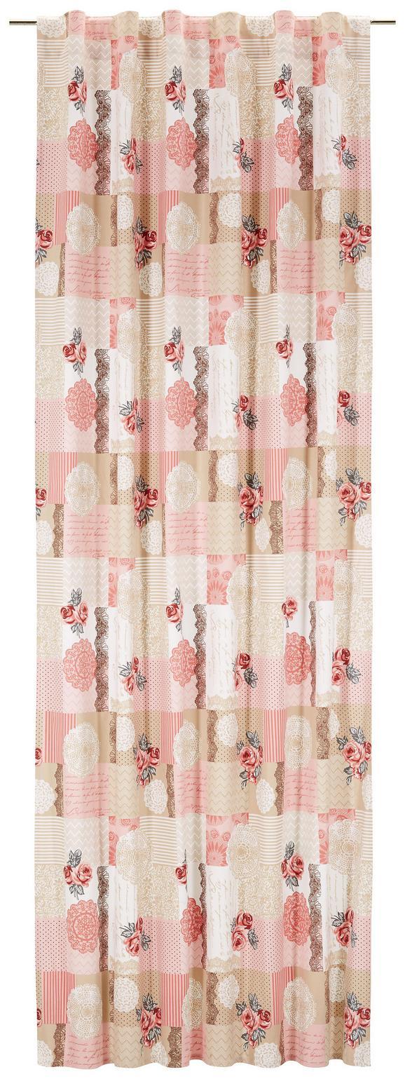 Schlaufenschal Patch Rosa/beige 140x250cm - Beige/Rosa, ROMANTIK / LANDHAUS, Textil (140/250cm) - Zandiara